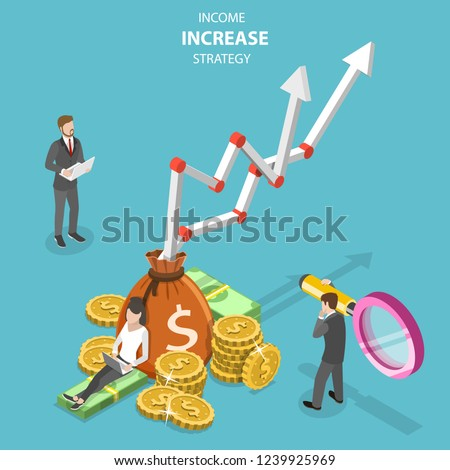Stock photo: Isometric flat vector concept of income increase strategy, financial growth.