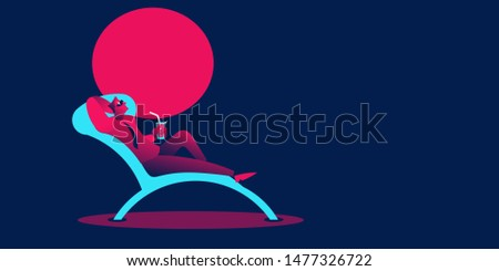 Businessman at Deckchair. Boss is summer vacation. Vector illust Stock photo © MaryValery