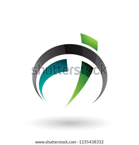 black and green car gauge shaped letter f and t vector illustrat stock photo © cidepix
