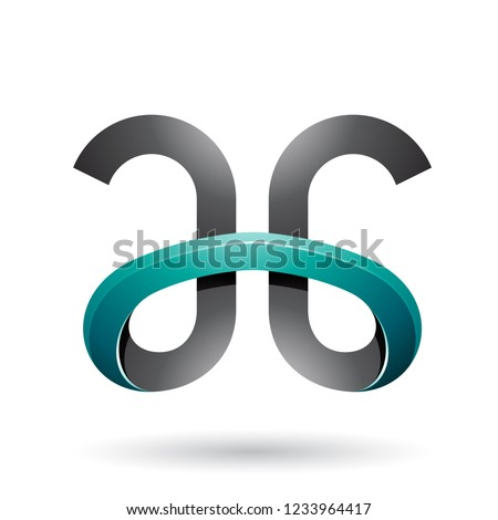 Black and Persian Green Bold Curvy Letters A and G Vector Illust Stock photo © cidepix