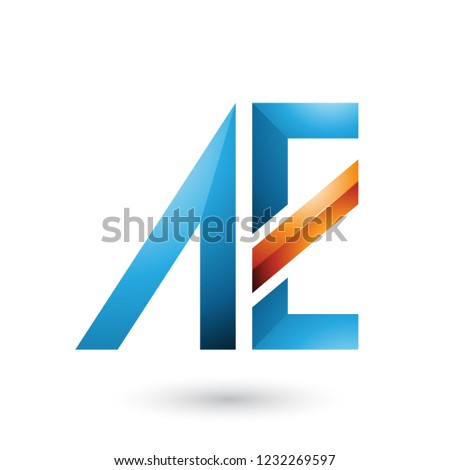 Blue and Orange Glossy Dual Letters of A and E Vector Illustrati Stock photo © cidepix