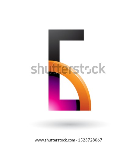 magenta and orange letter g with a glossy quarter circle vector stock photo © cidepix