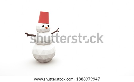 96204403e8b936 Cheerful snowman with a bucket on his head isolated on a white background.  Sketch of