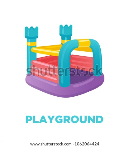 Inflatable Trampoline Vector. Playground Toy. Castle, Tower. Park. Isolated Flat Cartoon Illustratio Stock photo © pikepicture