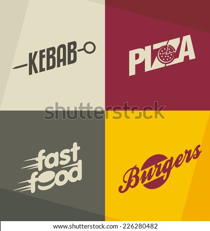Stock photo: Fast Food Icons Set Vector. Hamburger Dinner. Takeaway Food. Unhealthy express Cafe. Isolated Flat C