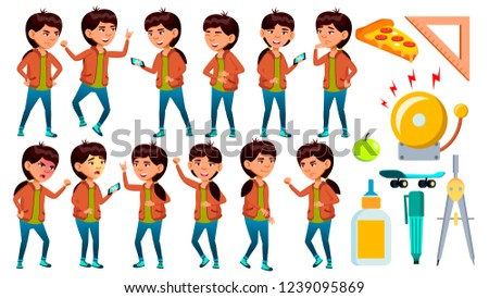 Asian School Girl Poses Set Vector. Schoolchild. Funny, Friendship, Happiness Enjoyment. For Web, Po Stock photo © pikepicture