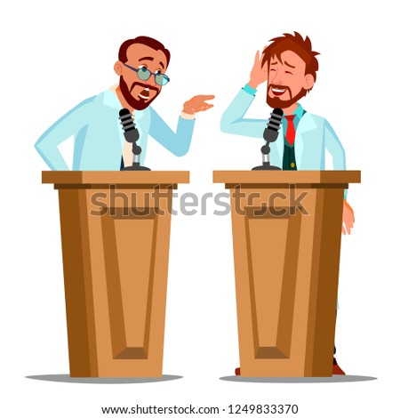 Two Doctor Argue Behind The Tribune With Microphone At Conference Vector. Isolated Cartoon Illustrat Stock photo © pikepicture