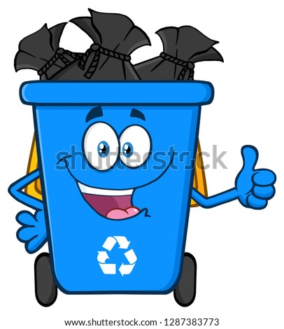 Happy Blue Recycle Bin Cartoon Mascot Character Full With Garbage Bags Giving A Thumb Up Stock photo © hittoon