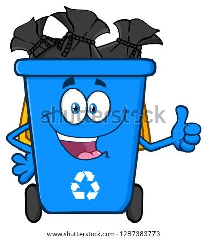 талисман · мусорное · ведро · иллюстрация · открытых · указывая · искусства - Сток-фото © hittoon