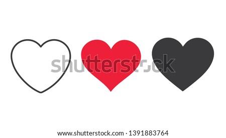 Rojo corazón icono aislado blanco establecer Foto stock © ESSL
