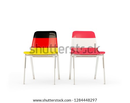 Two chairs with flags of germany and austria isolated on white Stock photo © MikhailMishchenko