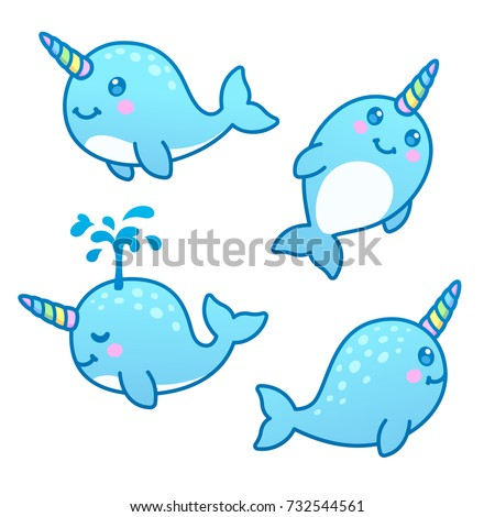 Cute cartoon kawaii Rainbow corne mer Photo stock © MarySan