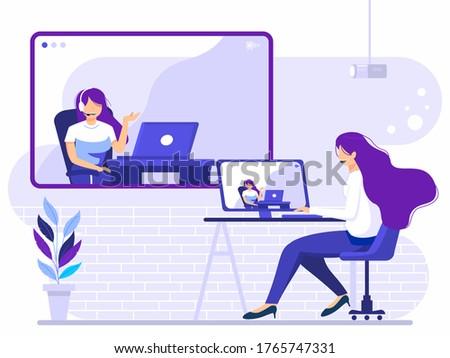 student watching online tutorial on a big laptop vector illustration stock photo © rastudio