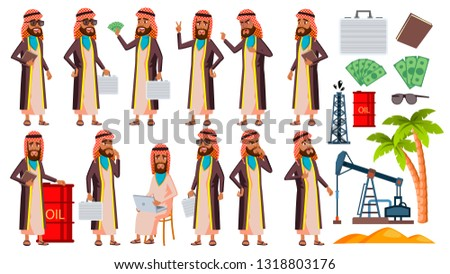 Arab, Muslim Old Man Poses Set Vector. Elderly People. Oil Production, Sheikh, Businessman. Senior P Stock photo © pikepicture