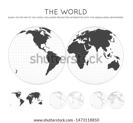 illustration with two hemispheres, globe world map on two circles. Vector illustration isolated on w stock photo © kyryloff