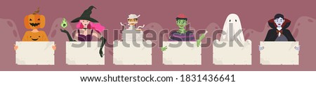 happy witch pumpkin cartoon character holding up a blank wood sign stock photo © hittoon