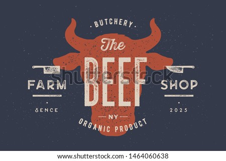 Butcher shop label. Badge with Cow. Fresh Beef vintage print. Butchery meats. Vector Stock photo © Andrei_
