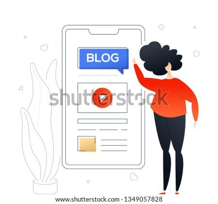 Blogging online nowoczesne kolorowy projektu stylu Zdjęcia stock © Decorwithme