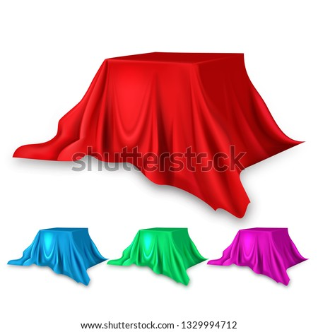 Red Silk Cloth Set Vector. Fabric Cloth Waving Shape. For Presentation. Banner. Velvet Luxury Textil Stock photo © pikepicture
