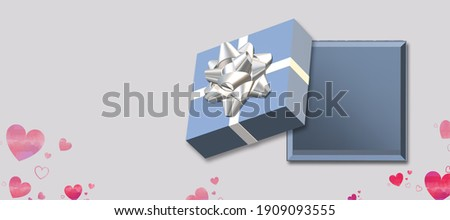 Open Black Gift Box and Heart Confetti. Christmas and Valentine Background. Vector Illustration Stock photo © olehsvetiukha