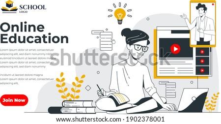 Online oktatás modern színes izometrikus lila felirat Stock fotó © Decorwithme