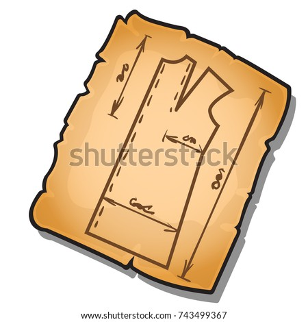 Sewing pattern on the old sheet of paper isolated on white background. Object of sewing studio or ta Stock photo © Lady-Luck