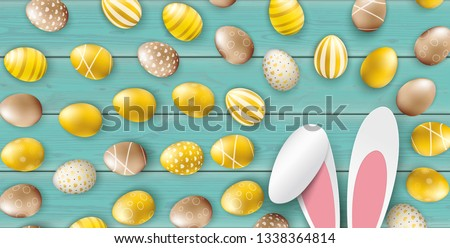 Noble Golden Easter Eggs Heap Wooden Turquoise Header Hare Ears Stock photo © limbi007