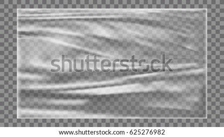Plastic Polyethylene Vector. Transparent Cellophane Glossy Wrap. Empty Sack Product Canvas Mock Up T Stock photo © pikepicture
