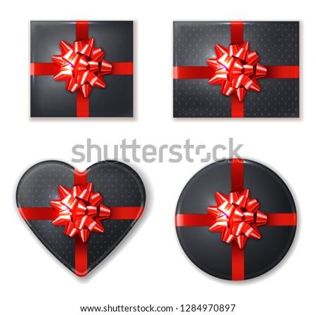 Siyah ayarlamak kırmızı yay vektör gerçekçi Stok fotoğraf © frimufilms