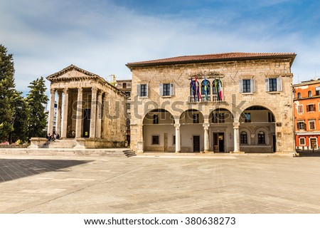 Forum square and historic roman Temple of Augustus in Pula panor Stock photo © xbrchx