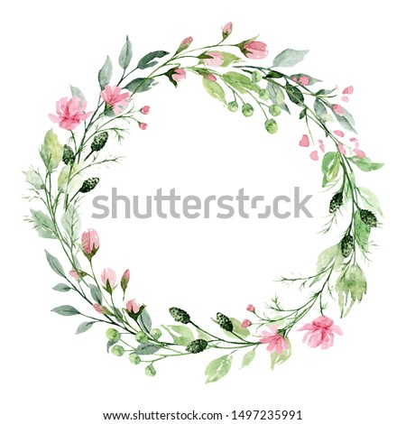 Hand-painted watercolor floral wreath on white background. Floral wreath.Garland with eucalyptus bra Stock photo © bonnie_cocos