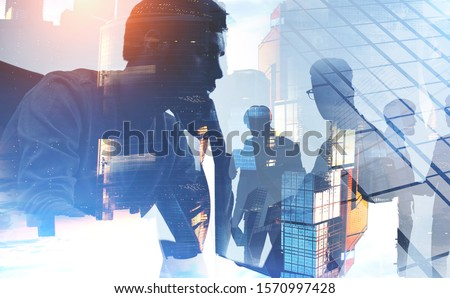 Business people collaborate together in office. Double exposure effects. Corporation, corporate. Stock photo © alphaspirit