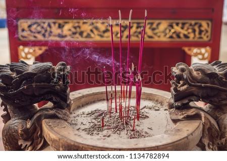 Temple of snakes with real snakes inside on the island of Penang, Malaysia Stock photo © galitskaya