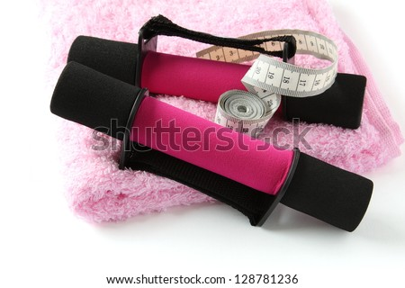 Black-pink soft dumbbell with handle strap and measuring tape Stock photo © Melnyk