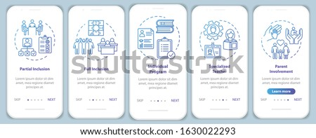 Web site onboarding screens. Online education. Digital internet tutorials and courses. Menu vector b Stock photo © ikopylov