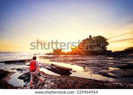naplemente · templom · el · part · Bali · Indonézia - stock fotó © galitskaya