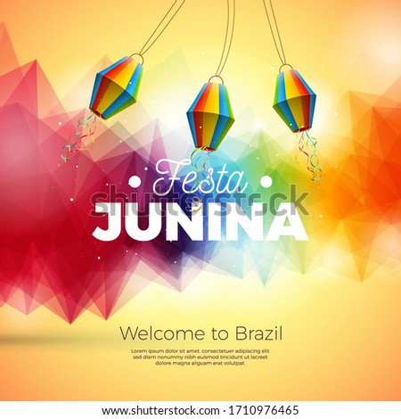 Festa Junina Illustration with Paper Lantern onAbstract Background. Vector Brazil June Festival Desi Stock photo © articular
