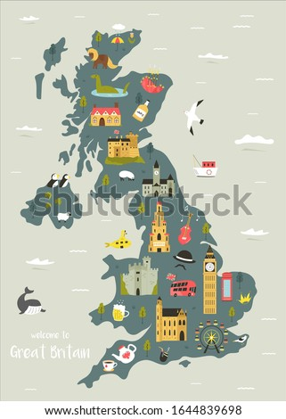 Map of The ENGLISH Lands: UK, Great Britain, England, Scotland, Wales & Ireland. Geographic chart. Stock photo © Glasaigh