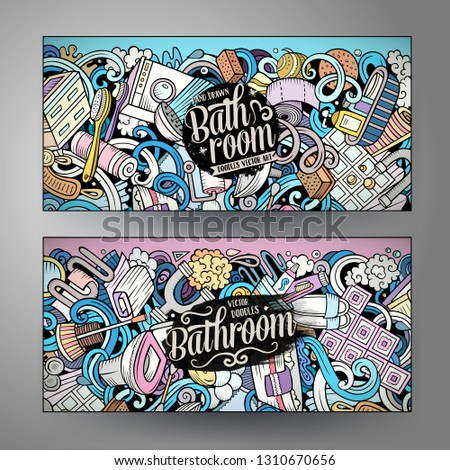 bathroom hand drawn doodle banners set cartoon detailed flyers stock photo © balabolka