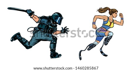 female runner athlete with a disability. riot police with a baton Stock photo © studiostoks
