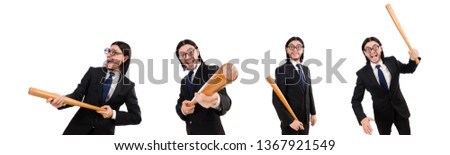 Young elegant man in black suit holding bat isolated on white Stock photo © Elnur