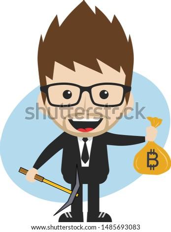 bitcoin crypto currency theme cartoon gentleman male man miner boy Stock photo © vector1st