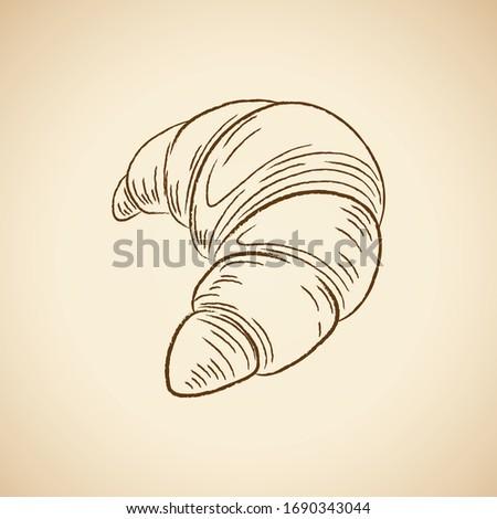 bruin · croissant · icon · geïsoleerd · beige · vector - stockfoto © cidepix