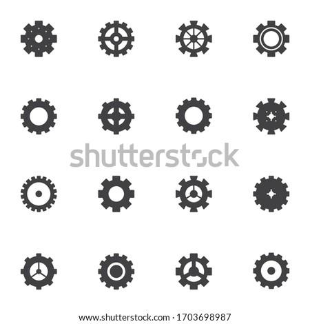 gear or cog logo Icon vector. Simple flat symbol. Vector illustration on white background. Stock photo © kyryloff