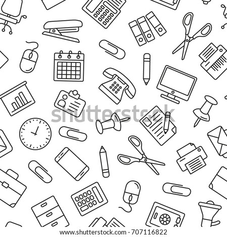 Seamless background from a set of office supplies, vector illustration. stock photo © kup1984