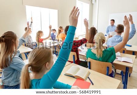 Rear view of school kids raising hand in classroom of elementary school Stock photo © wavebreak_media
