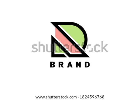 DR linear outline initial letters logo. Simple Logo Design, Blue graphic element for typography styl Stock photo © kyryloff