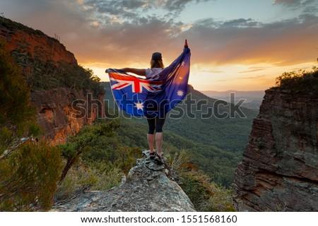 愛国的な 女性 オーストラリア人 フラグ 青 ストックフォト © lovleah