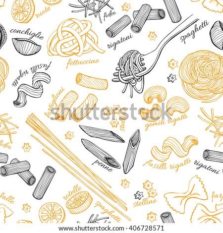 Cartoon cute doodles hand drawn Italian Food seamless pattern. Stock photo © balabolka