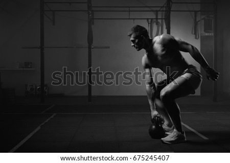 Fitness, health and workout concept. Handsome shirtless man with six-packs, perfect body, holding bo Stock photo © benzoix